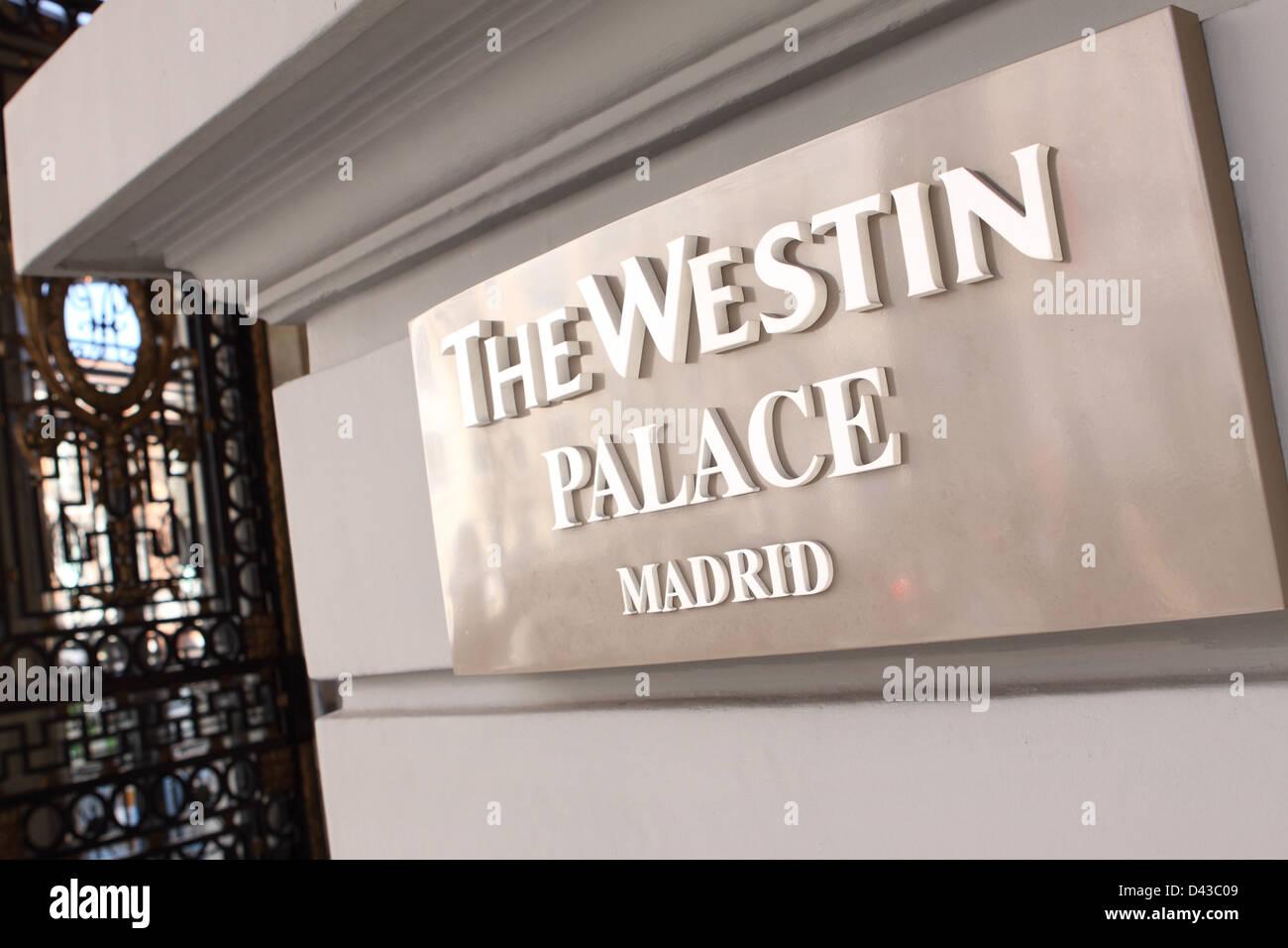 The Westin Palace Hotel Entrance Madrid Spain Stock Photo