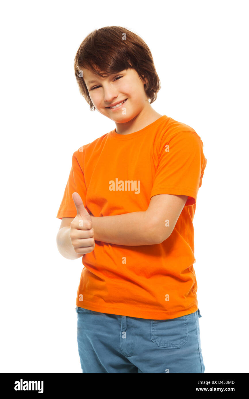 Cute 11 Year Old Boy Pictures : pictures, Years, Thumbs, Smile,, Isolated, White, Stock, Photo, Alamy