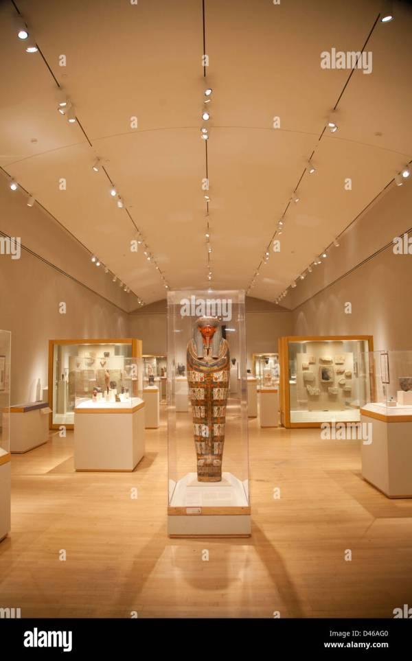 Interior Mummy Museum Display Stock &