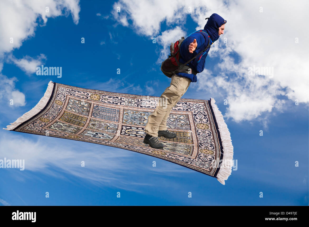 Frau Fliegender Teppich Man On A Magic Carpet Flying Down Across Blue Sky With