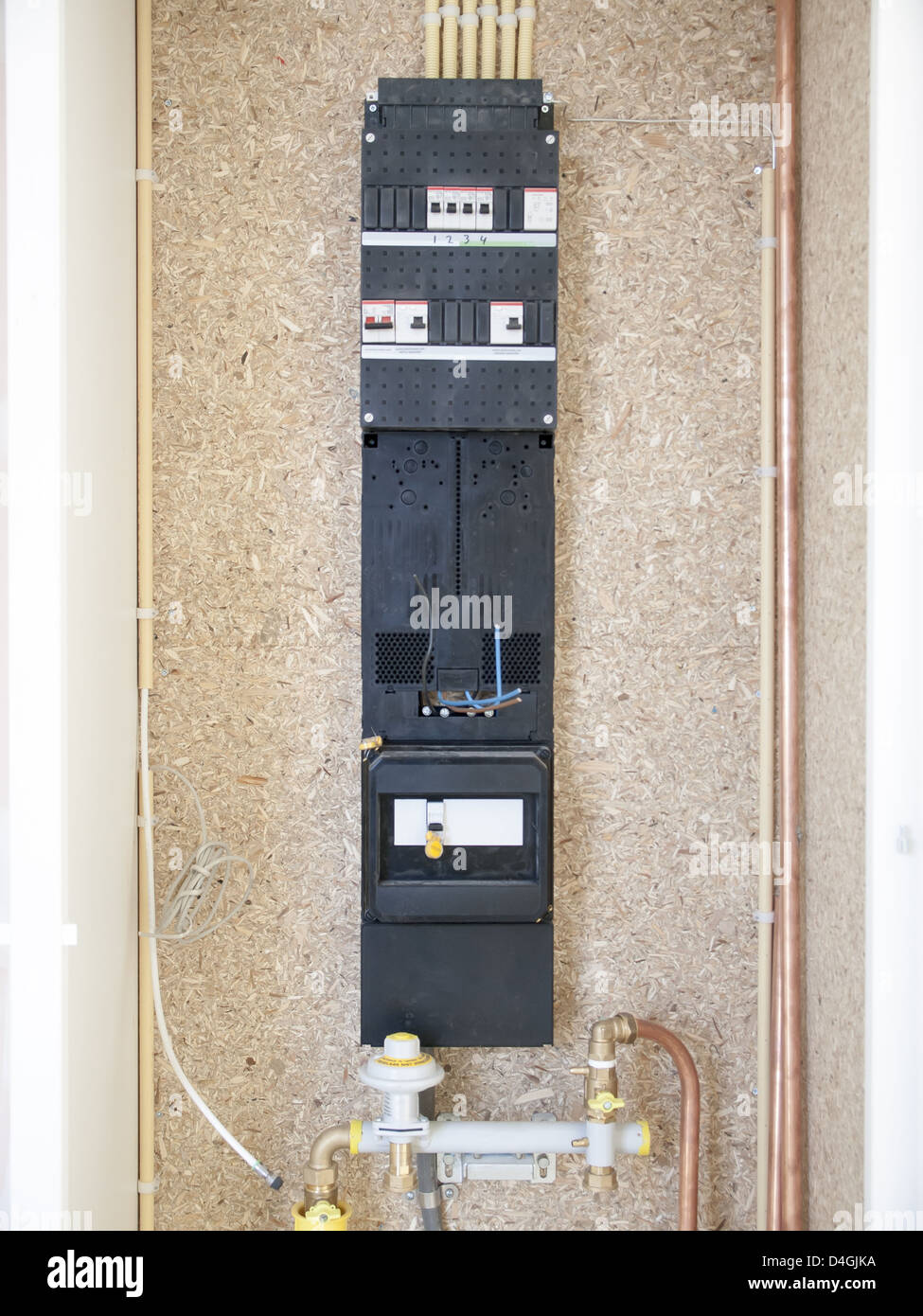 hight resolution of meter fuse box in a house under construction