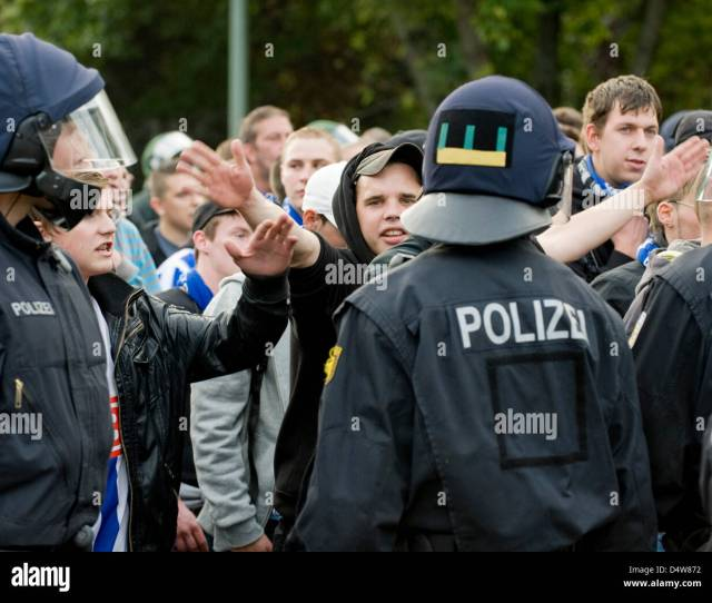 The Police Escorts Ticketless Fans Back To The Train Station Before The Union Berlin Versus Hertha Bsc Match In Berlin Germany