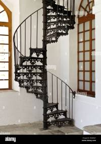 decorative 19th century cast iron spiral stair between ...