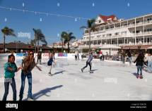 Outdoor Ice-skating Rink Under Palmtrees Hotel Del
