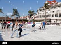 Outdoor Ice-skating Rink Under Palmtrees Hotel Del