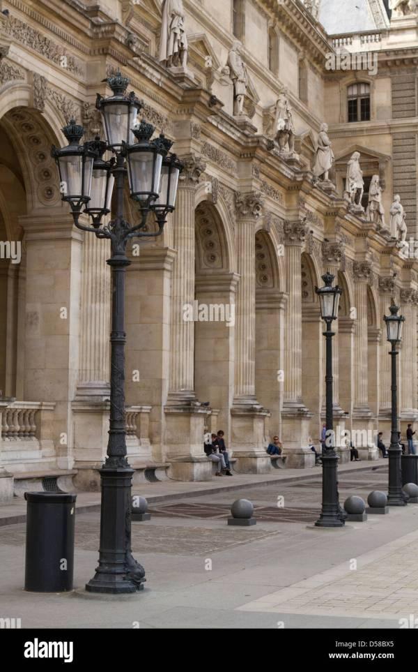 Courtyard Of Louvre Museum In Paris Stock
