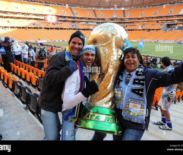 Argentinian Fans Celebrate With A Mock Up World Cup Trophy Prior