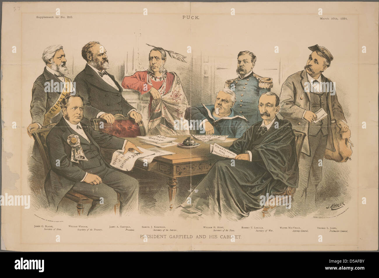 President Garfield And His Cabinet Stock Photo