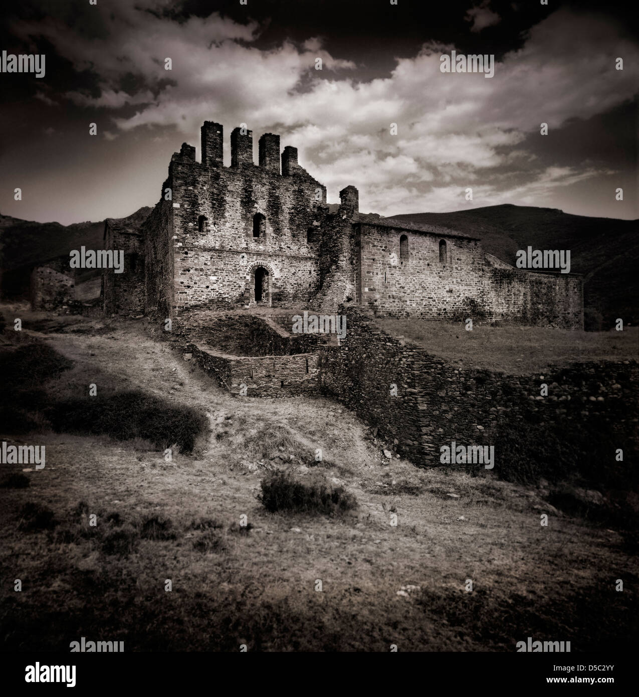 Middle Age Castle Ruins In Dark Environment Stock Photo