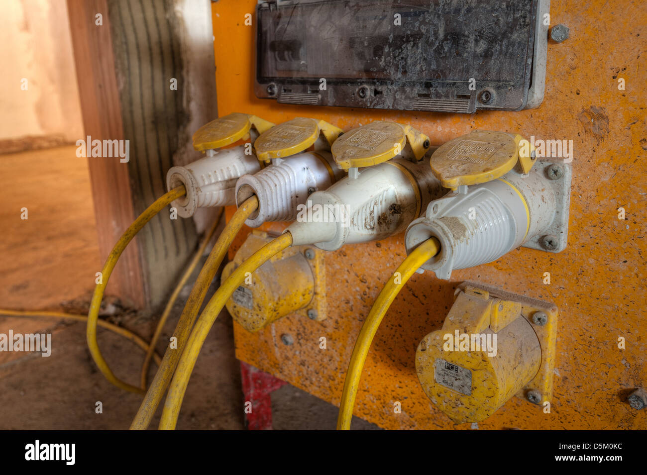 hight resolution of electrical cables plugs and wires from a heavy duty yellow 110 volt building power supply isolation