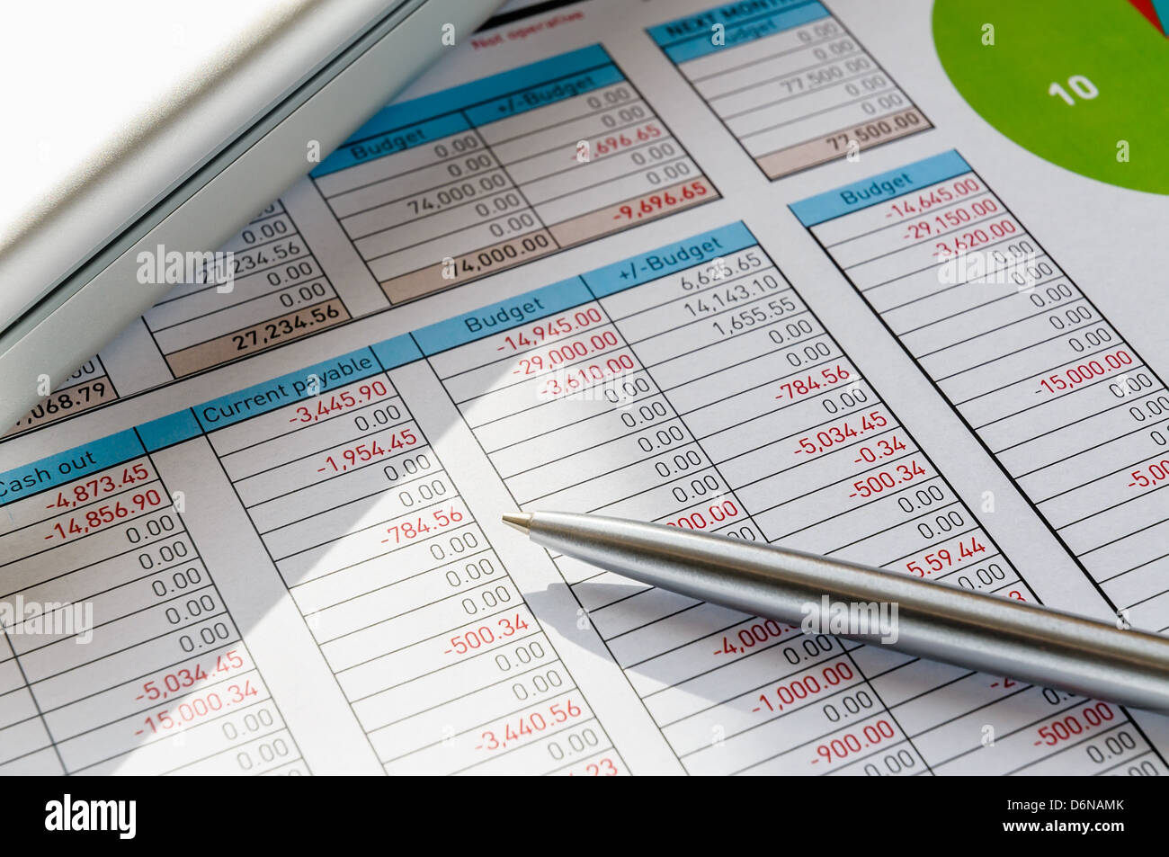 Accounting Form With Pen, In The Businessman's Office - Stock Image