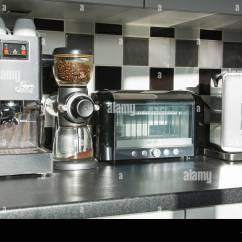 Modern Kitchen Appliances Wooden Tables Coffee Machine Bean Grinder