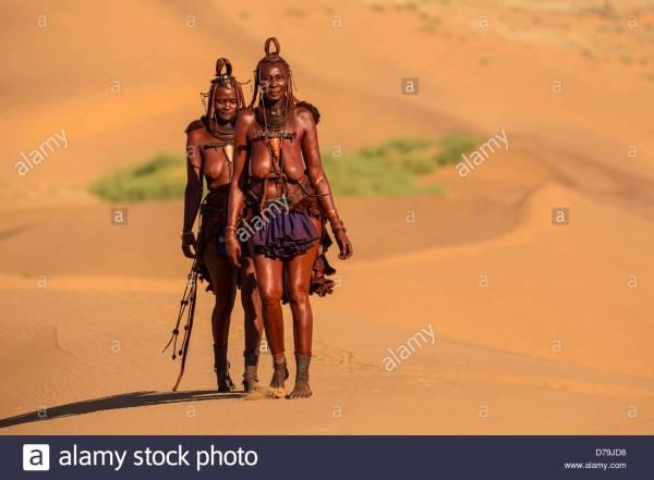 Namibia Serra Cafema Two Himba Tribe Women Desert Stock Royalty Free 56145748