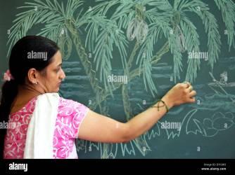 Indian Female Teacher Chalk Drawing on blackboard Stock Photo Alamy