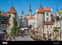 Tallinn Town Estonia Viru Street And Towers Of