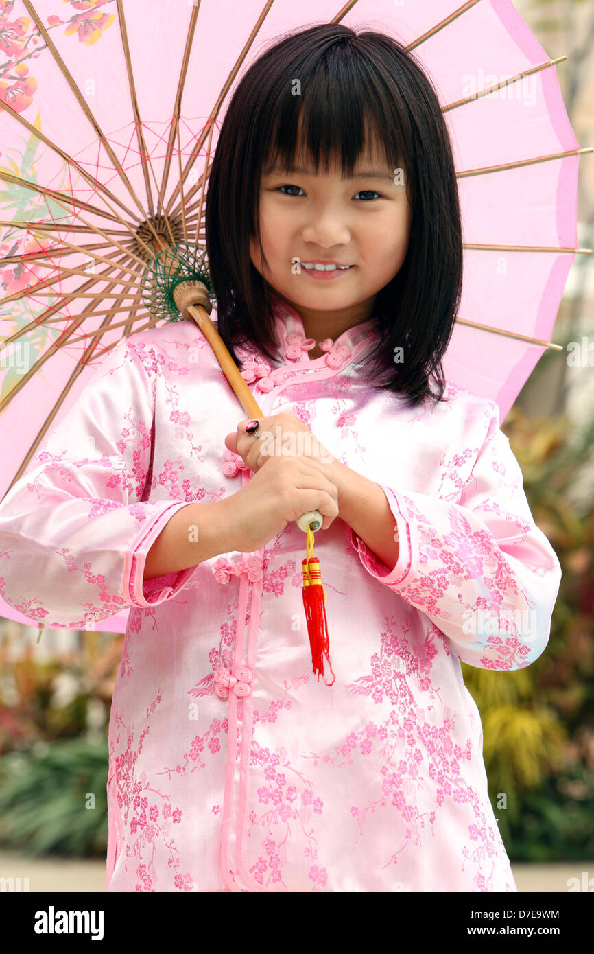 cute chinese girl holding