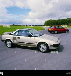 toyota mr2 mid engined sports car 1984 model year beige metallic stock image [ 1300 x 1158 Pixel ]