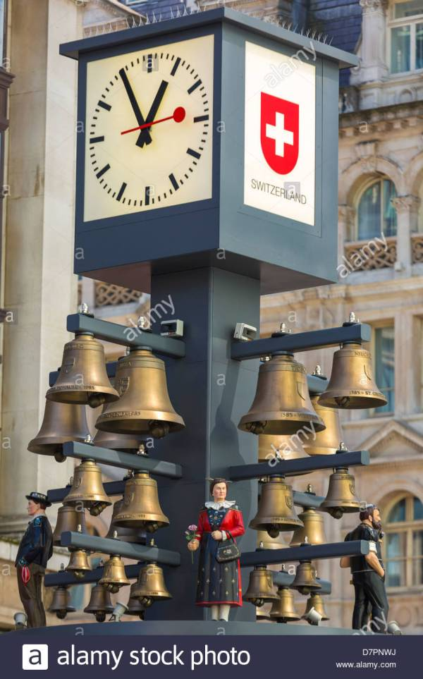 Swiss Clock In Leicester Square London United Kingdom Stock Royalty Free