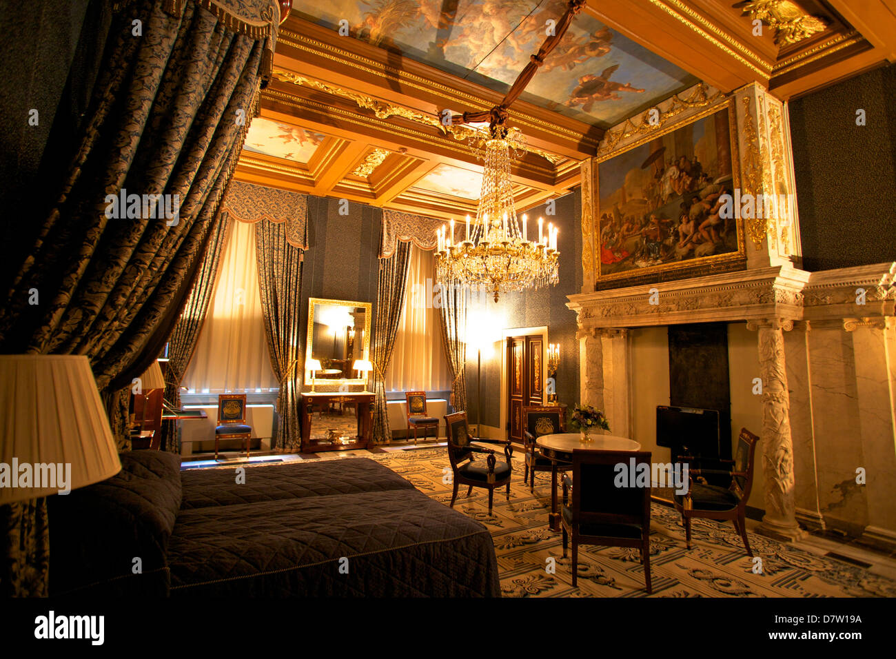Bedroom in Royal Palace Amsterdam Netherlands Stock