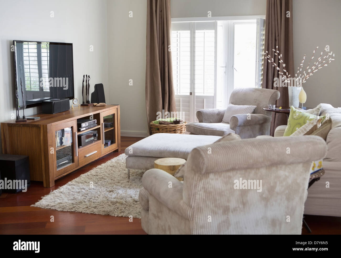 settee living room decorations for ideas tv stock photos television and armchairs in image