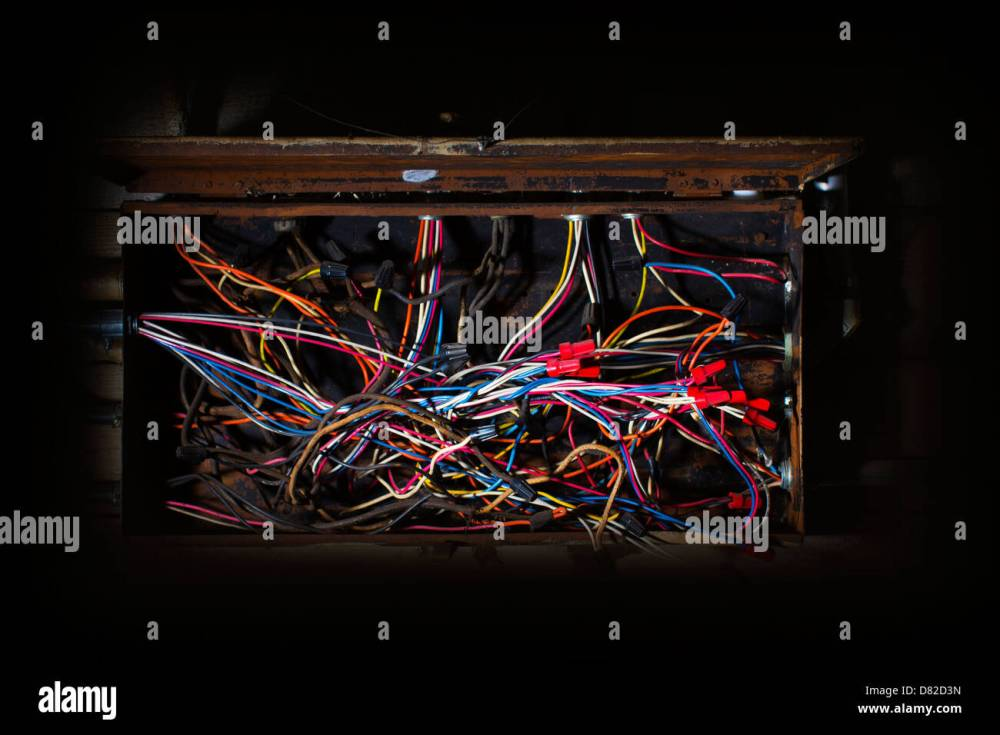 medium resolution of old fuse box with mess of wires cables colored coded running in fuse box cables