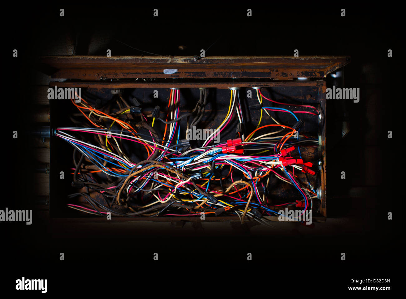 hight resolution of old fuse box with mess of wires cables colored coded running in fuse box cables