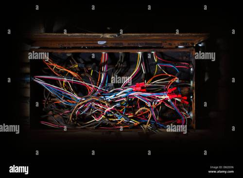 small resolution of old fuse box with mess of wires cables colored coded running in fuse box cables