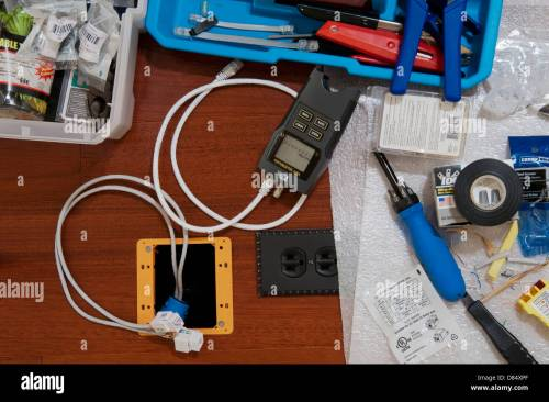 small resolution of ethernet wiring tools including a digital line tester during a home office installation