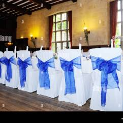 Chair Covers At Wedding Reception Eames Lounge Used Blue And White Stock Photo