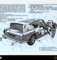 schematic blueprint of the aston martin db5 famous for being the first and most recognised cinematic james bond car [ 1300 x 1122 Pixel ]