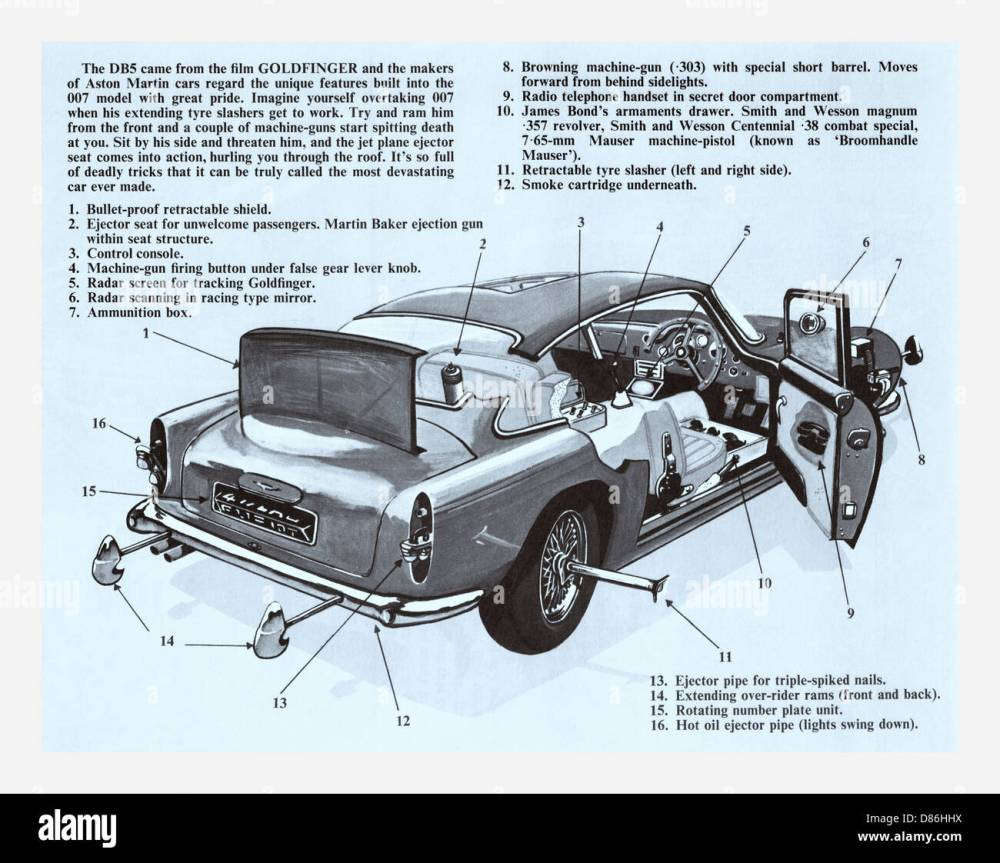 medium resolution of schematic blueprint of the aston martin db5 famous for being the first and most recognised cinematic james bond car
