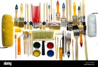Different types of paintbrushes, colors, painting tools ...