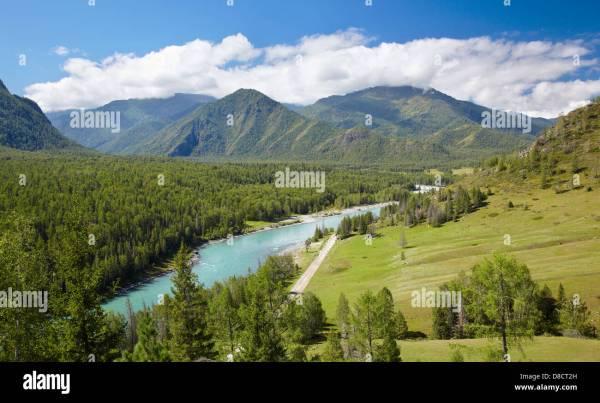 Amazing Mountain Altai Landscape With River Katun Stock Royalty Free 56830665 - Alamy