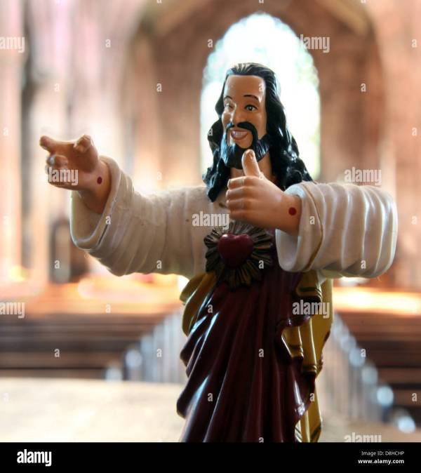 Buddy Christ Statue In Catholic Church Acceptable Face