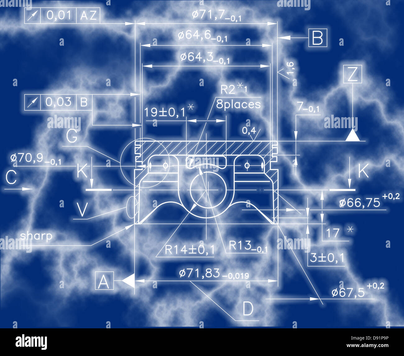 hight resolution of design drawings of nonexistent internal combustion engine piston clipping path stock image