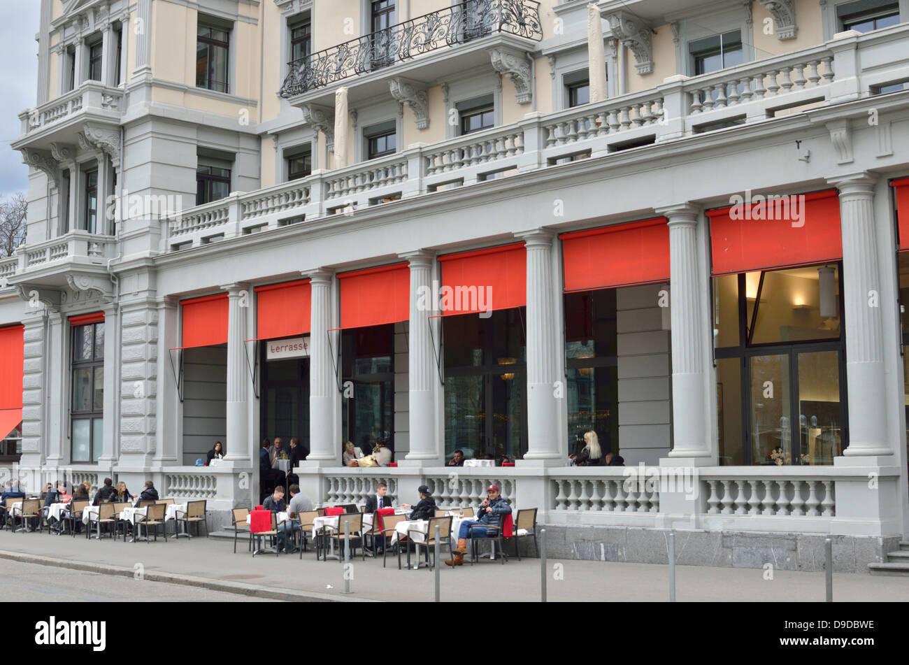 Bar Restaurant Terrasse Limmatquai Zurich Switzerland Stock