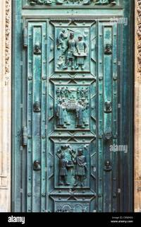 Detail of the bronze doors on the medieval gothic front ...