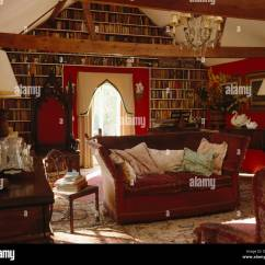 Gothic Living Room Paint Colors For With Cathedral Ceilings Knole Sofa And Throne Chair In Country Wall Of Bookshelves Window Cream Lambrequin Pelmet