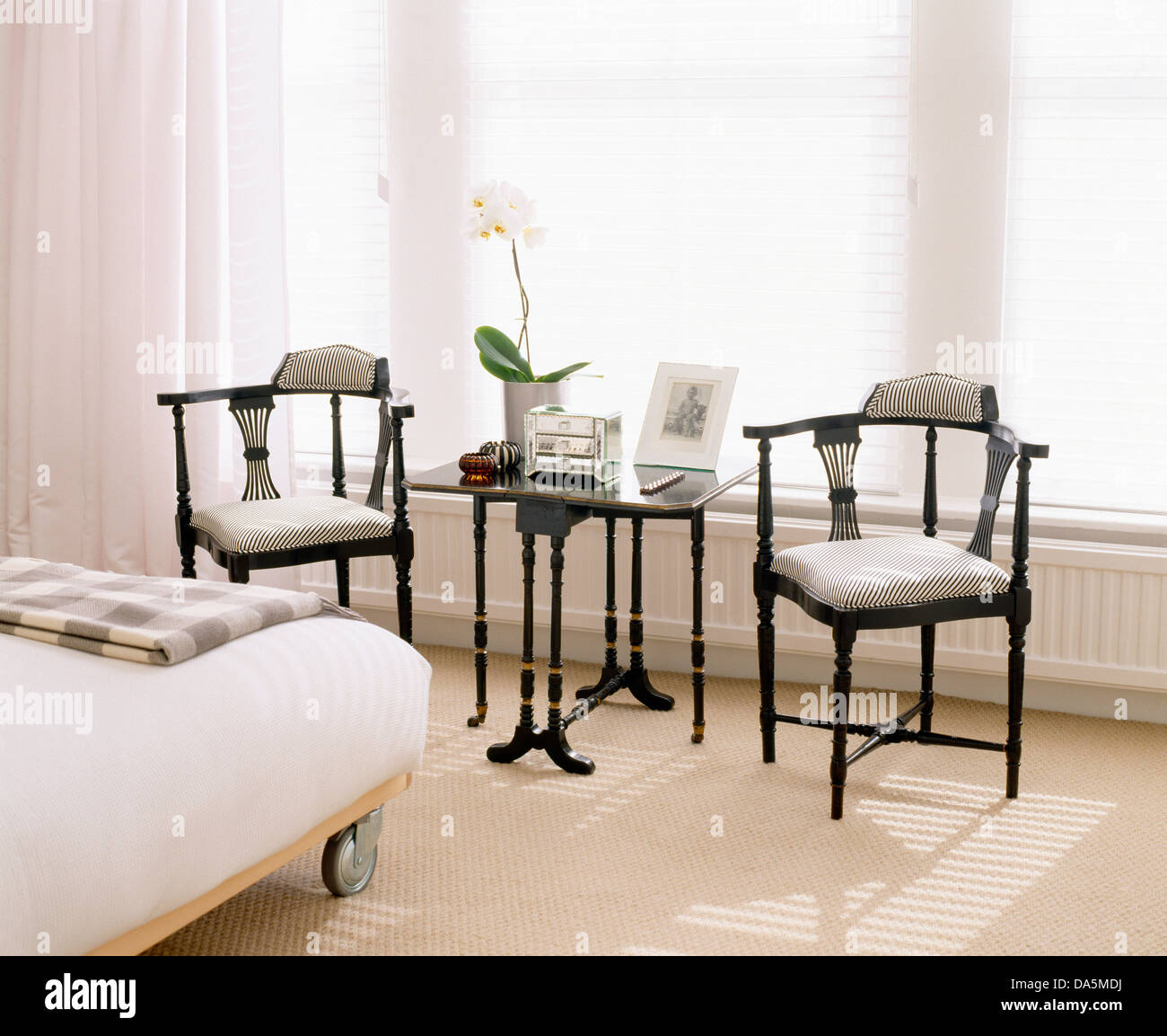 Small Chairs For Bedroom Antique Edwardian Style Chairs And Small Table In Front Of Window