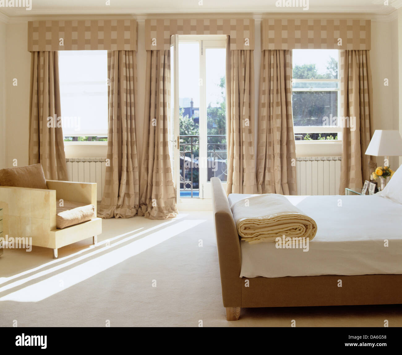 https www alamy com stock photo double bed and white carpet in contemporary bedroom with with opulent 57922068 html