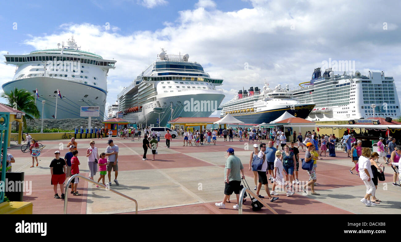 four cruise ships are