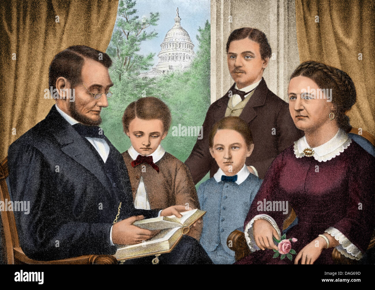 President Abraham Lincoln And His Family Reading A Book In