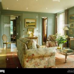 Pictures Of Country Living Rooms Brown Furniture Room Floral Sofa In French With Gray Green Painted Walls