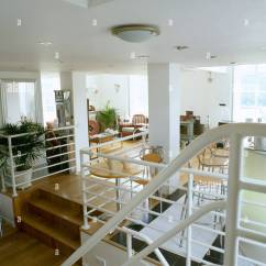 Open Plan Staircase In Living Room Big Pictures White Metal Banisters On Wooden Stairs To Modern The First Floor Of Converted Chapel