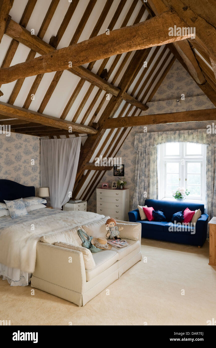Exposed Beams In Loft Bedroom English 17th Century Manor House Stock Photo 58288458 Alamy