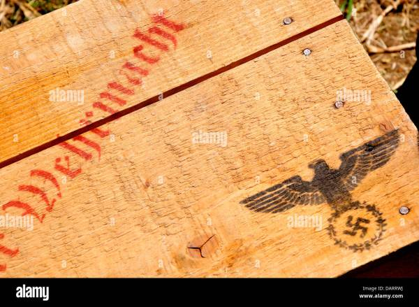 German Wooden Crate With Stenciled Eagle And Swastika