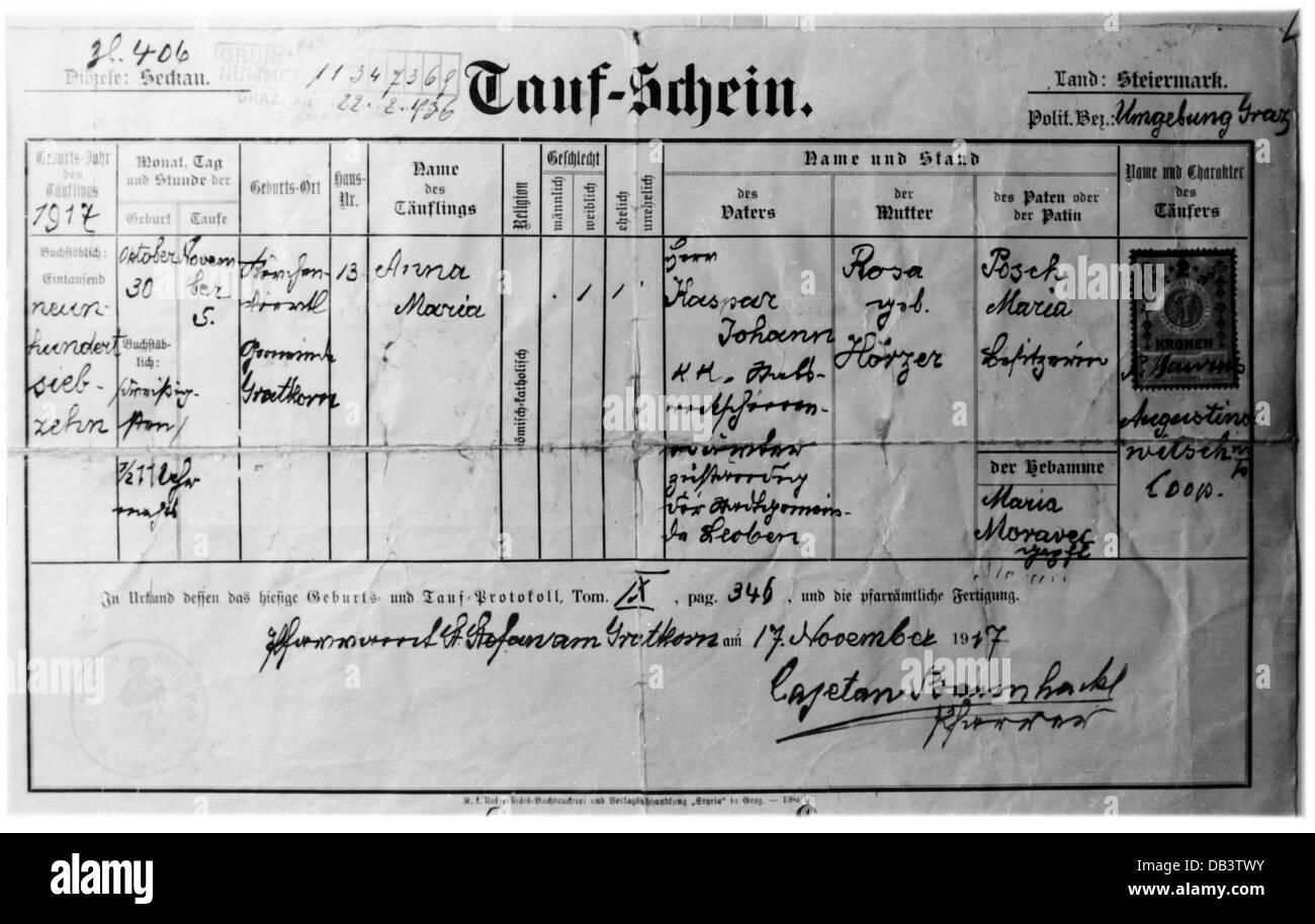 hight resolution of documents certificate of baptism sankt stefan am gratkorn styria austria 17 11