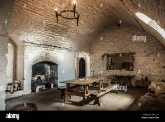 A dining room kitchen inside a medieval castle Stock Photo Alamy