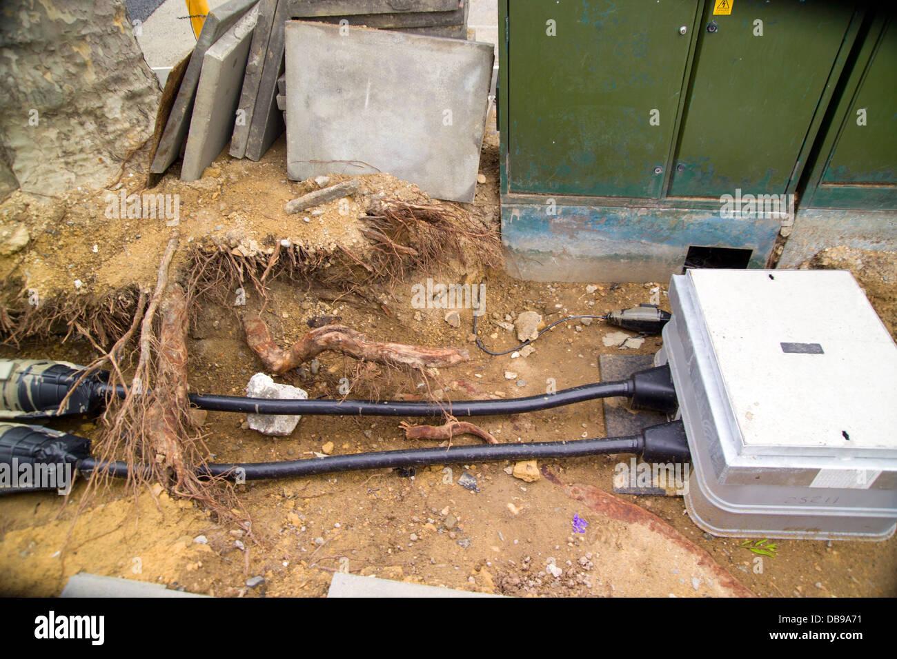 hight resolution of power line underground works in street open underground works junction boxes