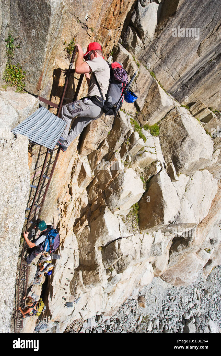 ladders on a rock face above Mer de Glace Mont Blanc range Stock Photo 58705314  Alamy